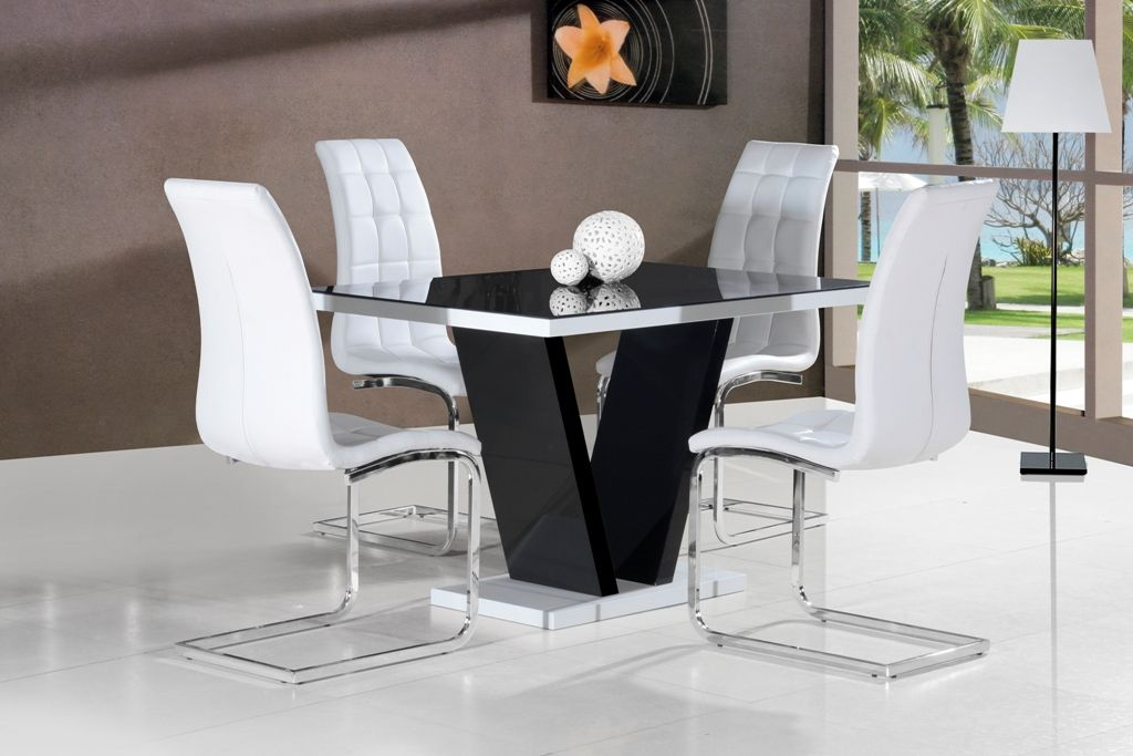 Ga Vico High Gloss Grey Glass Top Designer 120 Cm Dining Set 4